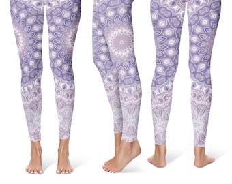7a648ebeaf Mandala Leggings Yoga Pants, Lavender Printed Yoga Tights for Women,  Festival Clothing, Club Wear