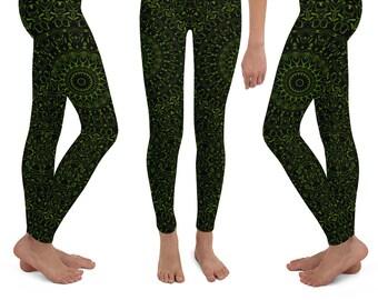 d8ef19759c008 Girls Black Leggings with Green Mandala Designs, Avocado Printed Yoga Pants  for Kids