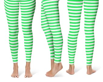 18e2cc271dcc6 Leprechaun Leggings Yoga Pants, Striped Yoga Tights for Women in Bright  Green and White