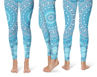 2233ee133a Printed Leggings Yoga Pants, Blue Mandala Printed Yoga Tights for Women,  Festival Clothing