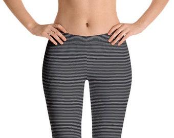 e8452b960778d Black and Gray Striped Leggings Yoga Pants, Ultra Thin Stripes Yoga Tights  for Women