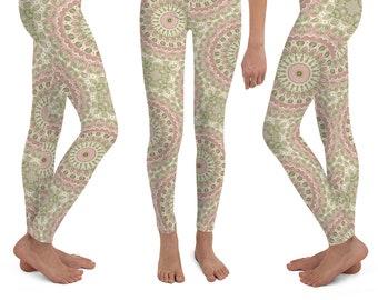 aa9cb6a73506a6 Girls Mandala Flower Leggings Yoga Pants, Rose Pink and Olive Green Printed  Yoga Tights for Kids