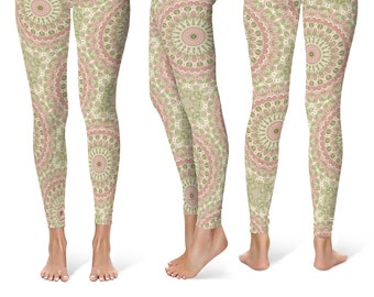 28bcd609a15d95 Mandala Flower Leggings Yoga Pants, Printed Yoga Tights for Women, Rose Pink  and Olive Green