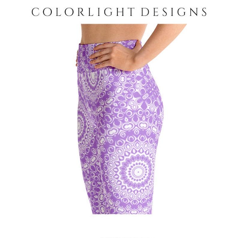 High Waist Lavender Leggings Yoga Pants Printed Yoga Tights image 0