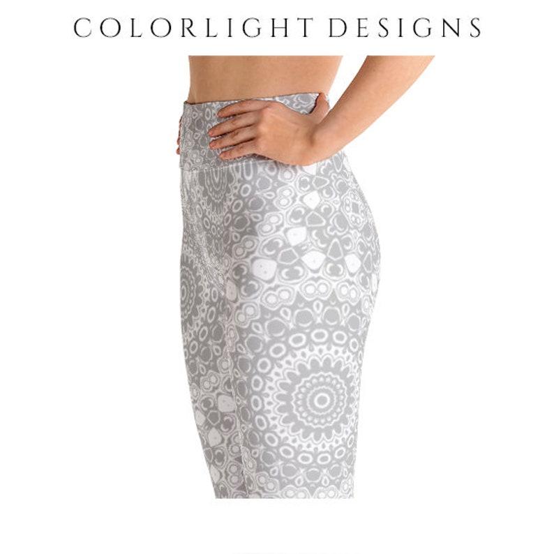High Waist Silver Leggings Yoga Pants Printed Yoga Tights for image 0