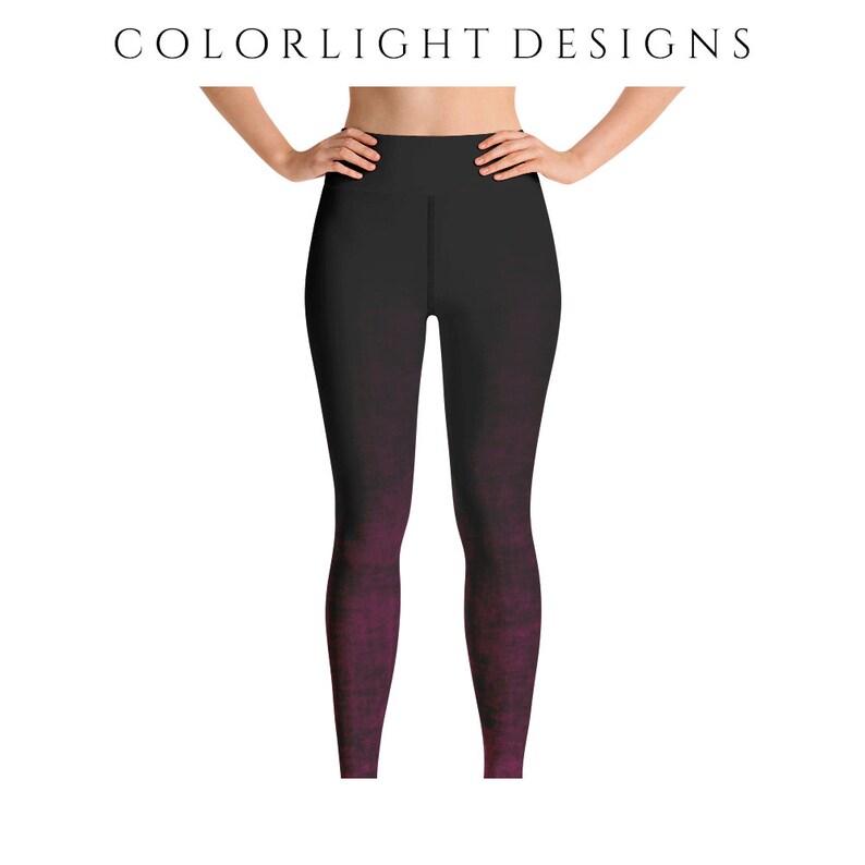 High Waist Hot Pink Ombre Leggings Yoga Pants Grunge Yoga image 0