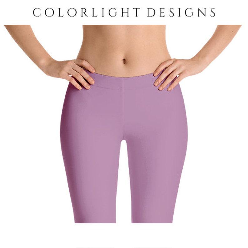 Opera Mauve Leggings Yoga Pants Solid Color Yoga Tights for image 0