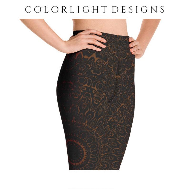 ad9cf82172 High Waist Chocolate Brown Yoga Pants Black Leggings with | Etsy