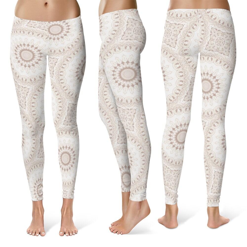 Boho Leggings Yoga Pants White Mandala Printed Yoga Tights