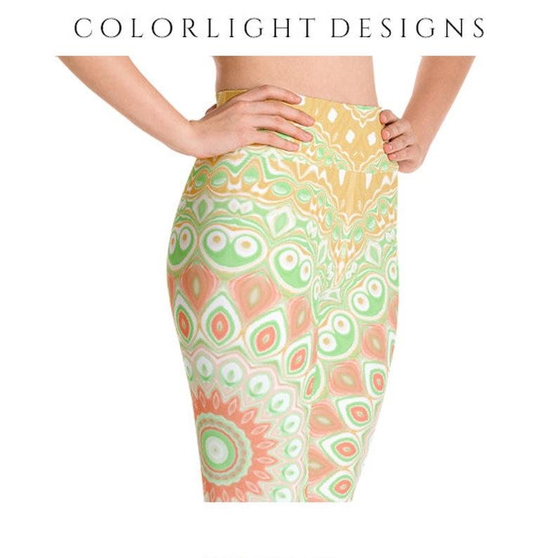 High Waist Leggings Bold Patterned Yoga Pants Summer Printed image 0