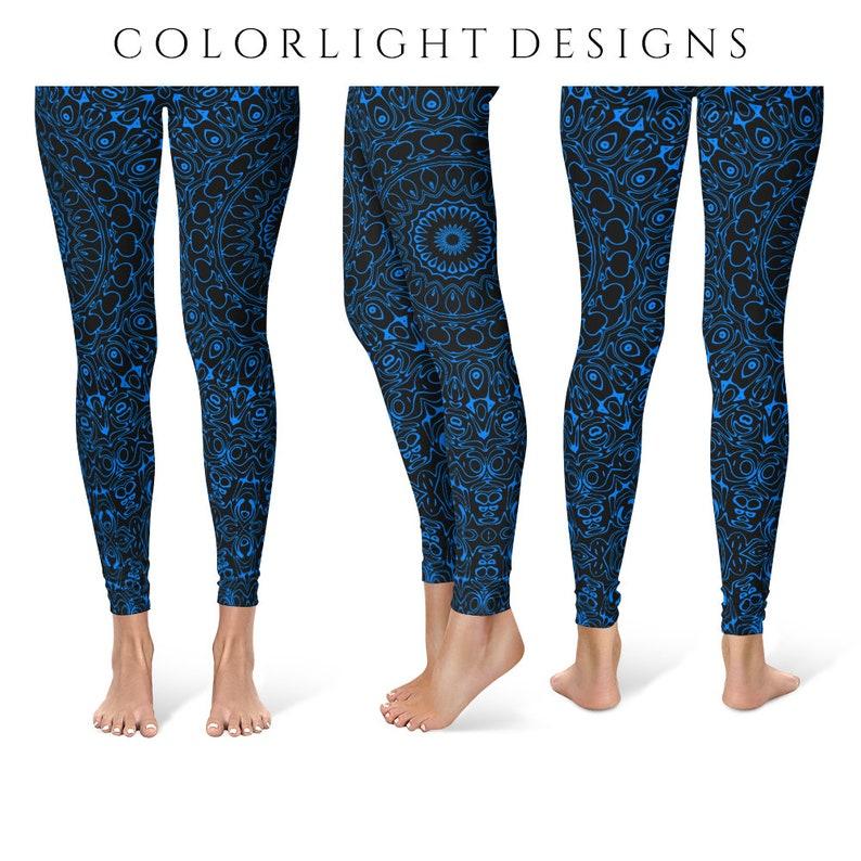 Azure Yoga Pants Black Leggings with Blue Mandala Designs for image 0