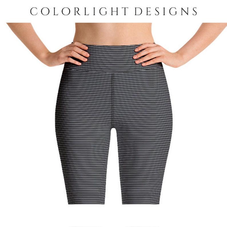 High Waist Striped Leggings Yoga Pants Ultra Thin and image 0