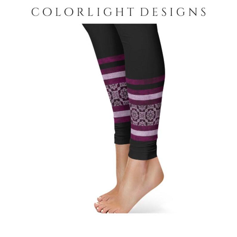 READY TO SHIP Black Yoga Pants Size Extra Large Flower Ankle image 0