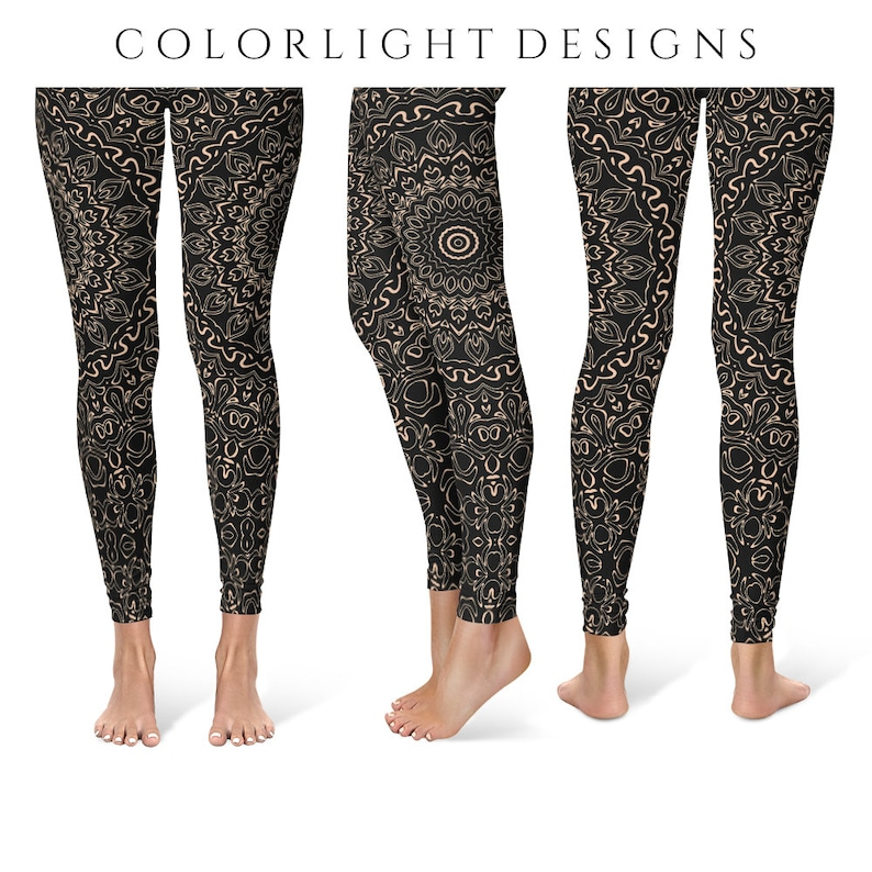 Apricot Yoga Pants Black Leggings with Peach Mandala Designs image 0