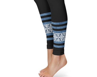 Black Leggings Yoga Pants, Printed Yoga Tights for Women, Blue Geometric Ankle Design