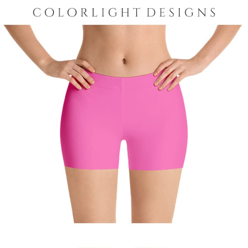 18c667dc56945 Hot Pink Yoga Shorts, Stretchy Workout Clothing, Plus Size Solid Color  Short Leggings