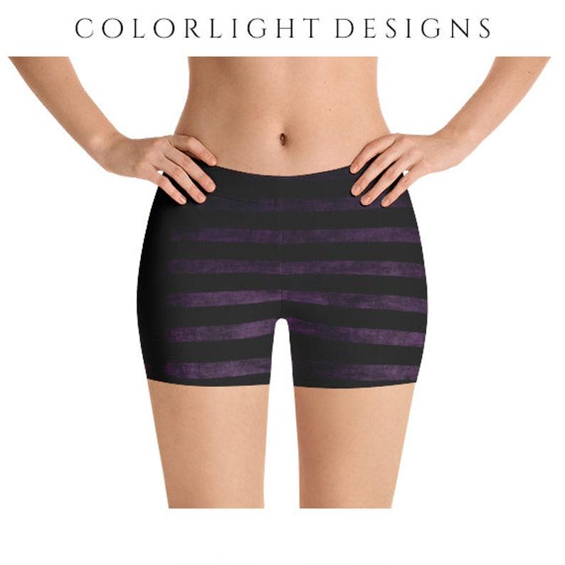 2b821b6b233f3 Striped Yoga Shorts Witchy Black and Purple Grunge Clothing | Etsy