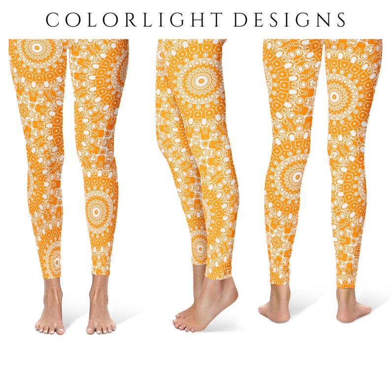 Orange Leggings Yoga Pants Printed Yoga Tights for Women image 0