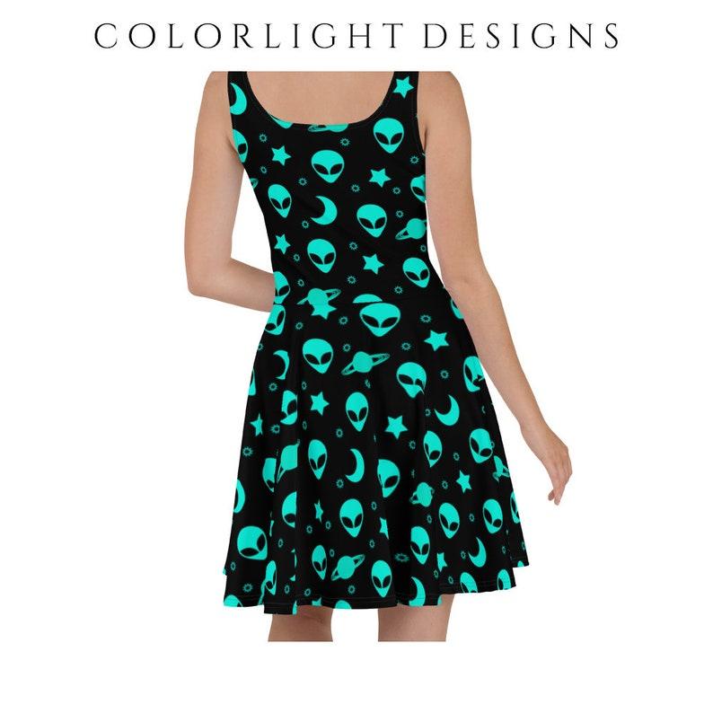 Alien Skater Dress Outer Space Patterned Sleeveless Dress for image 0