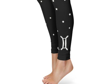 Gifts for Gemini Leggings, Zodiac Birthday Leggings, Star Sign Yoga Pants
