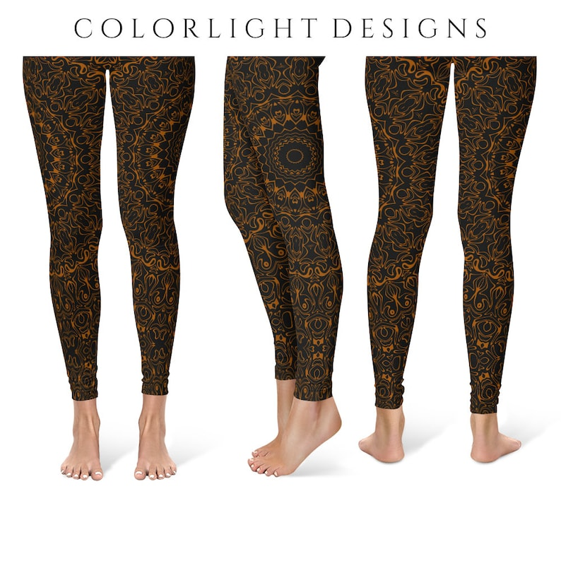 Brown Yoga Pants Black Leggings with Western Mandala Design image 0