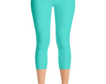 READY TO SHIP - Turquoise Leggings in Size Small, Blue Yoga Pants for Women, Capris