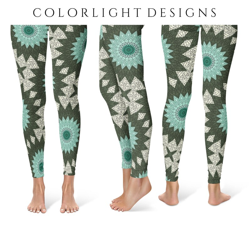 Artsy Leggings Bold Patterned Yoga Pants Turquoise and Green image 0