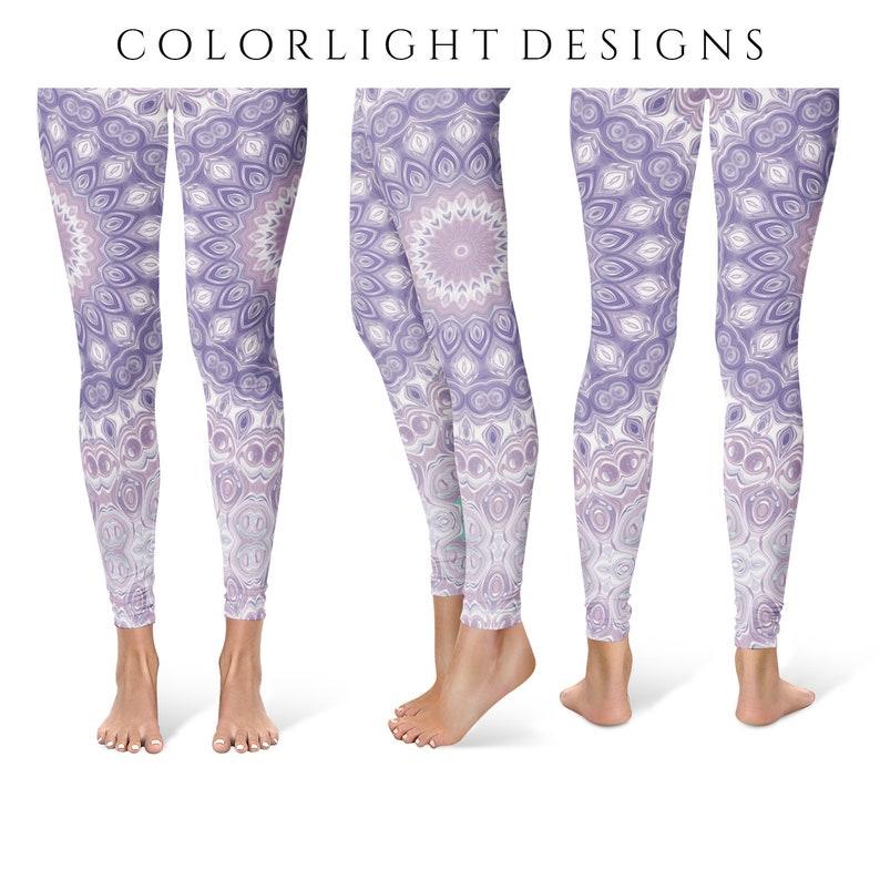 Mandala Leggings Yoga Pants Lavender Printed Yoga Tights for image 0