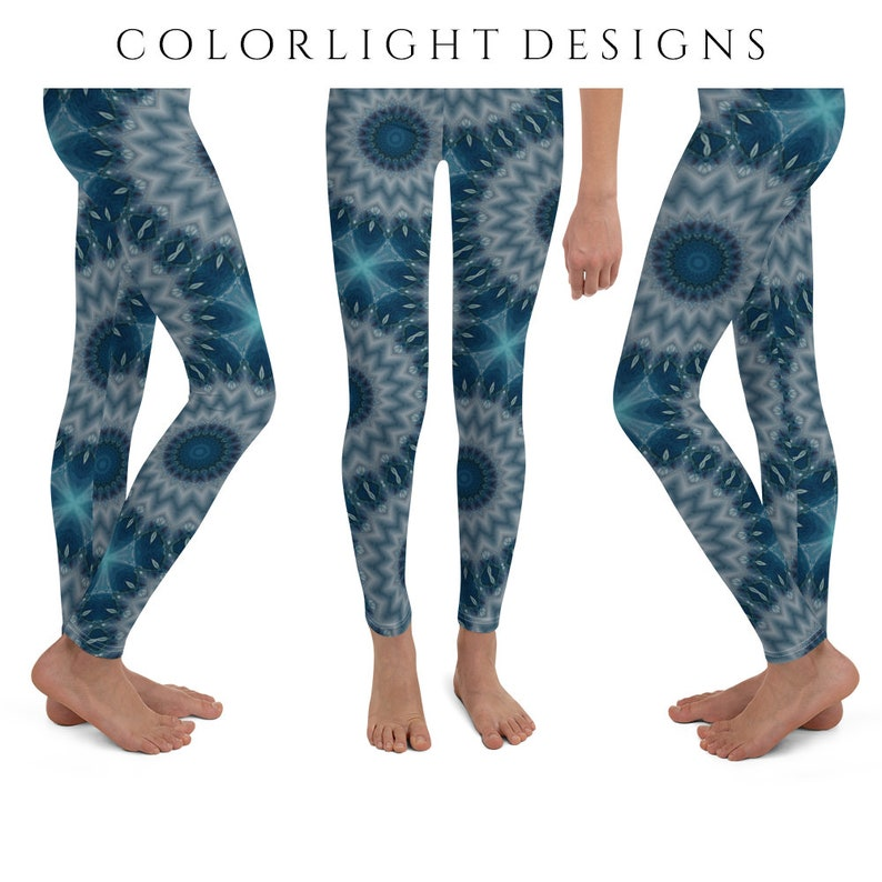 Waterfall Leggings Yoga Pants Blue Print Yoga Tights for image 0