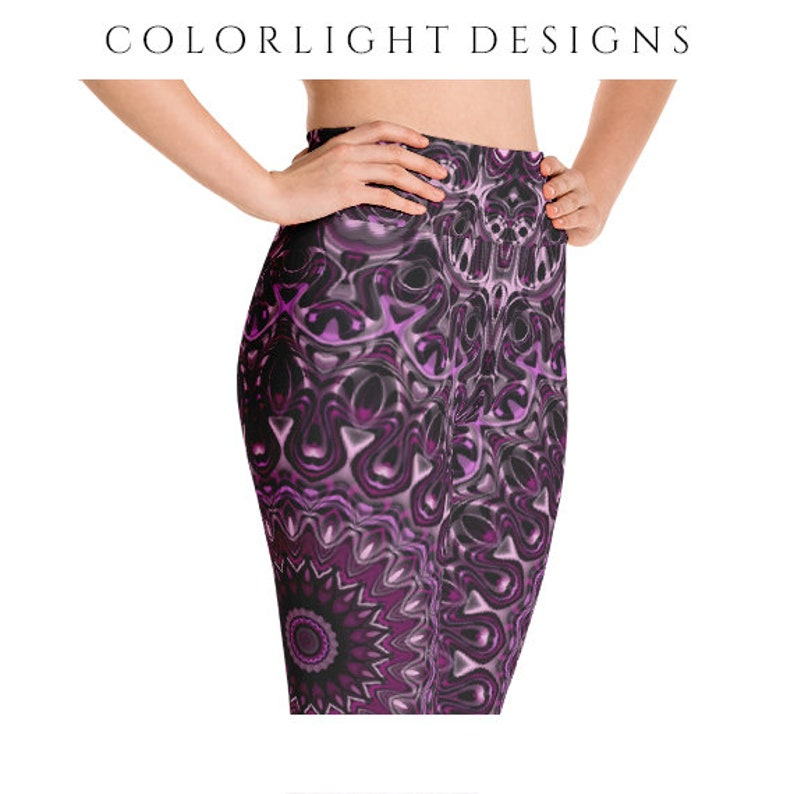 High Waist Leggings Yoga Pants Dark Pink Mandala Printed Yoga image 0