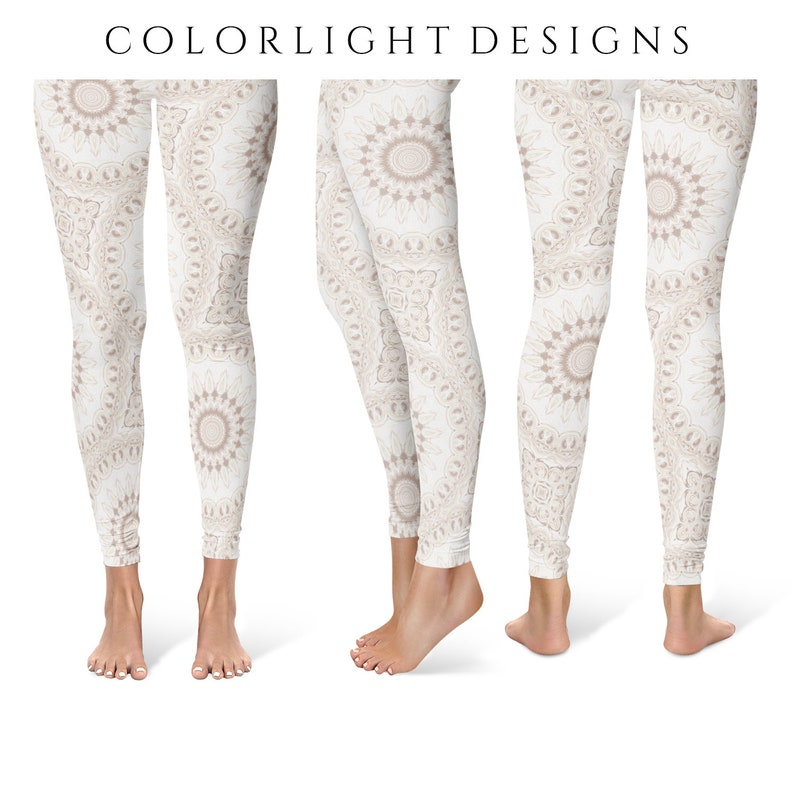 Boho Leggings Yoga Pants White Mandala Printed Yoga Tights image 0