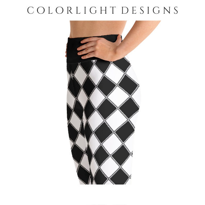 High Waist Jester Leggings Yoga Pants Argyle Harlequin image 0