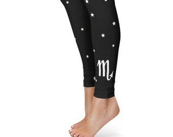 Gifts for Scorpio Leggings, Zodiac Birthday Leggings, Star Sign Yoga Pants
