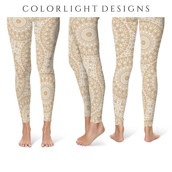 Beige Leggings Yoga Pants Cream Printed Yoga Tights For