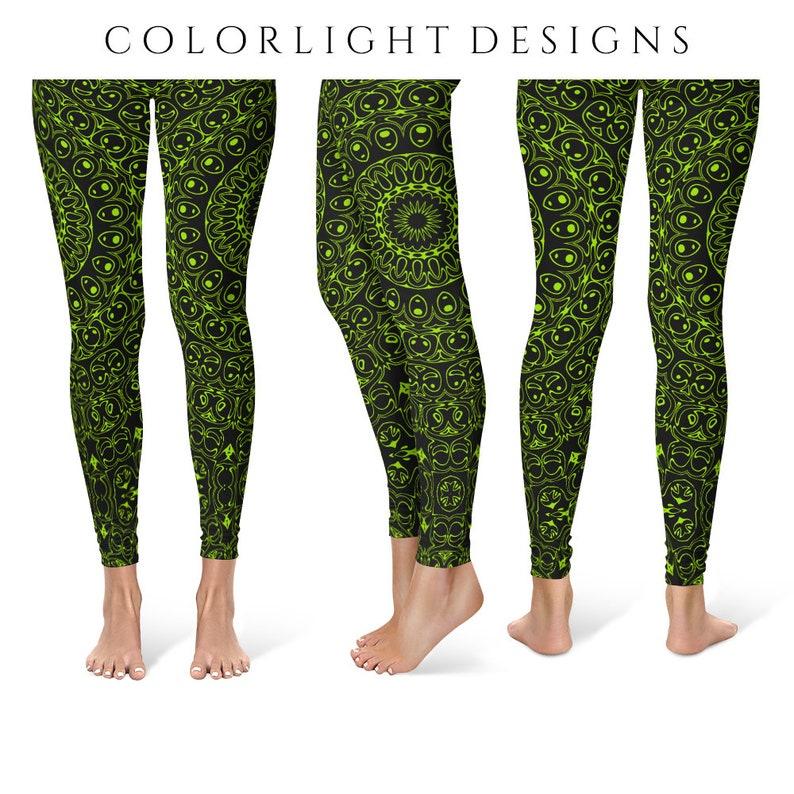 Chartreuse Yoga Pants Black Leggings with Green Mandala image 0