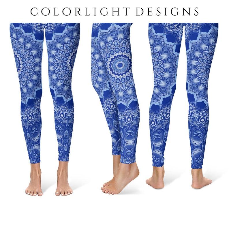 Dark Blue Yoga Leggings Mandala Printed Leggings for Women image 0