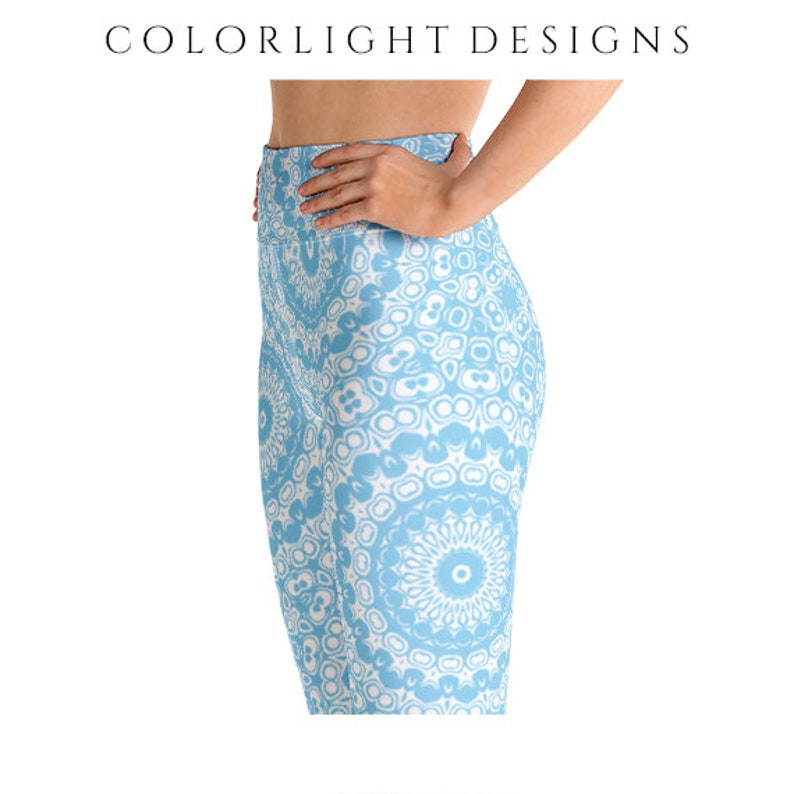 High Waist Baby Blue Leggings Yoga Pants Printed Yoga Tights image 0