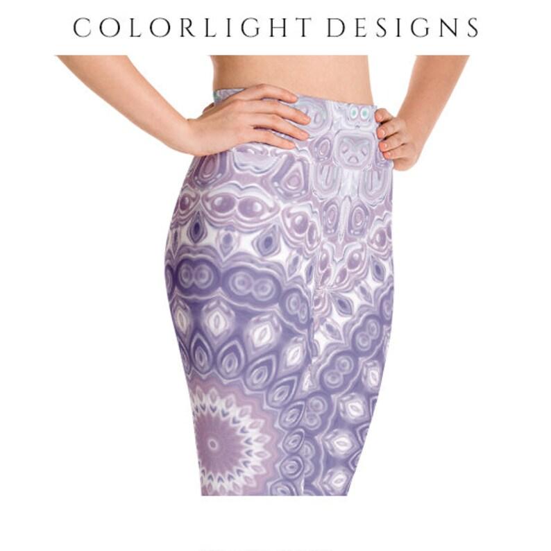 High Waist Mandala Leggings Yoga Pants Lavender and Purple image 0