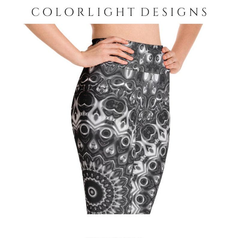 High Waist Black Leggings Yoga Pants Black and White image 0