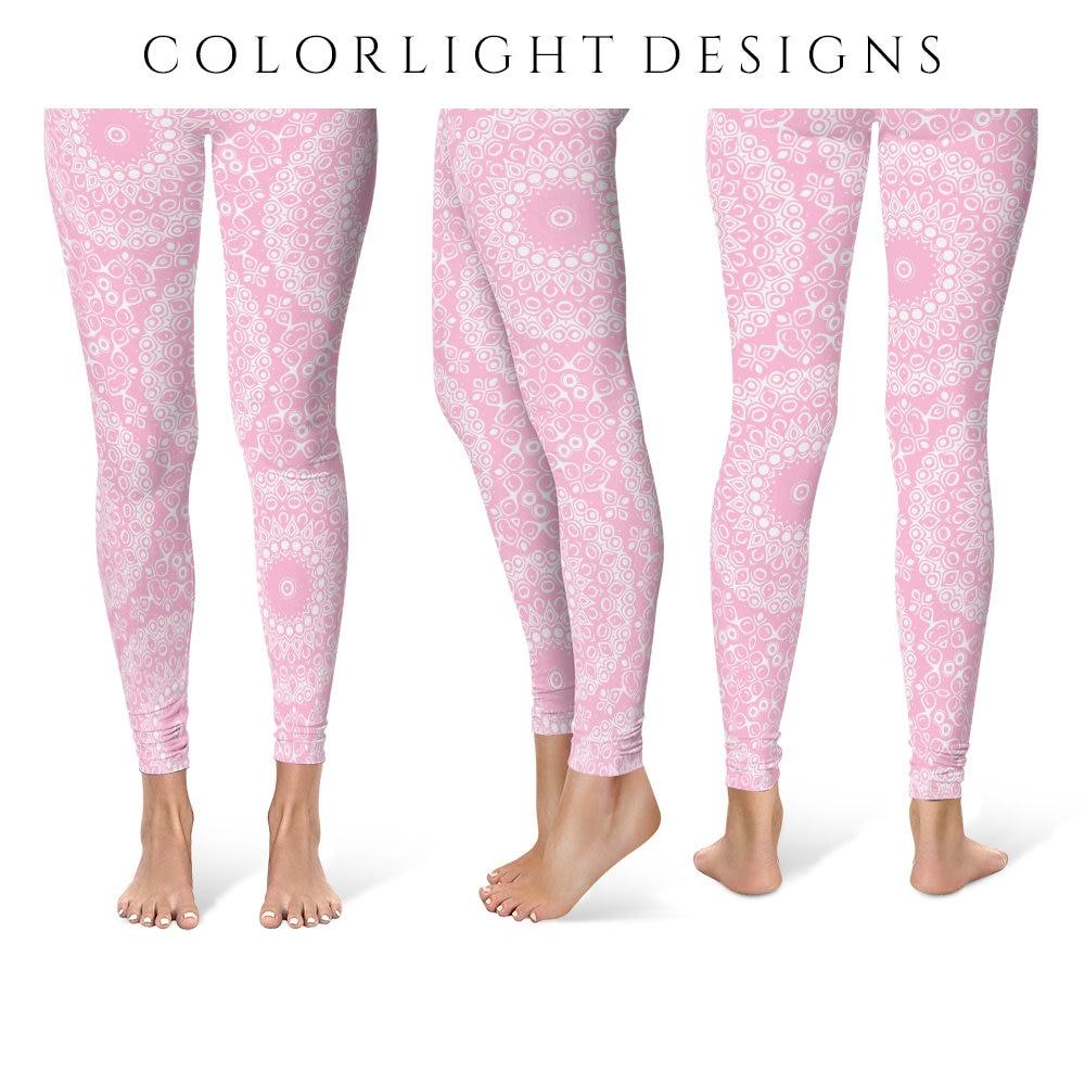 Pink Leggings Yoga Pants Printed Yoga Tights For Women