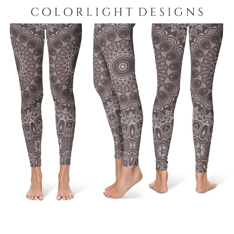 Brown Leggings Yoga Pants Mandala Printed Yoga Tights for image 0