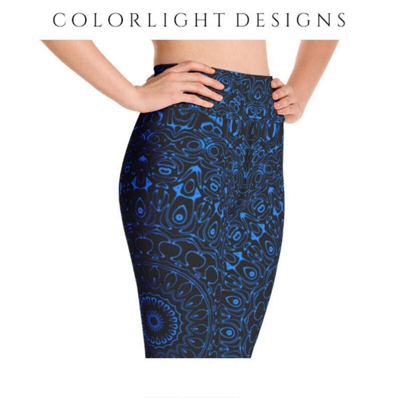 High Waist Azure Yoga Pants Black Leggings with Blue Mandala image 0