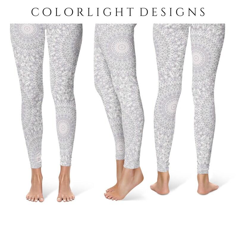 Tribal Yoga Pants Lavender and Gray Boho Leggings Tribal image 0