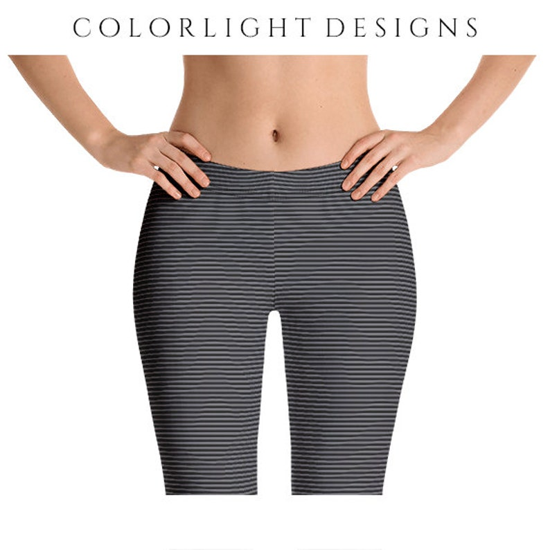 Black and Gray Striped Leggings Yoga Pants Ultra Thin Stripes image 0