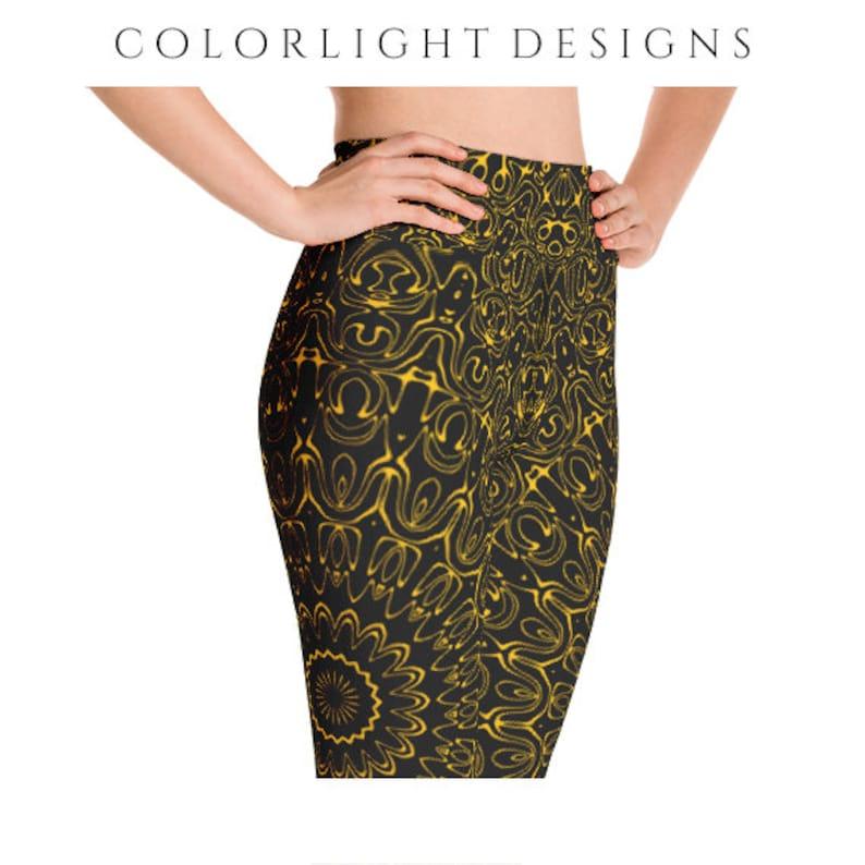 High Waist Amber Yoga Pants Black Leggings with Yellow image 0