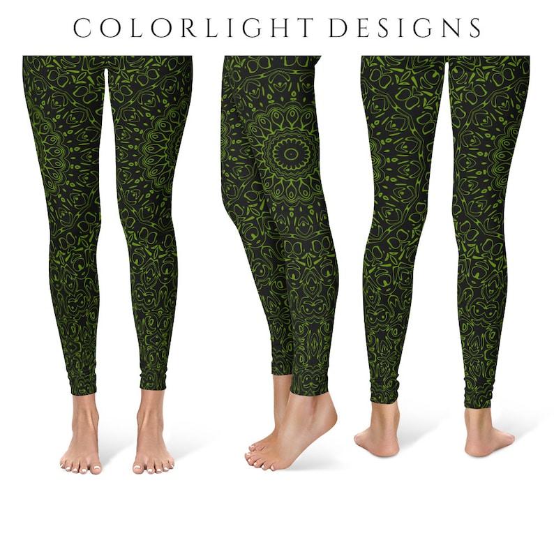 Avocado Yoga Pants Black Leggings with Green Mandala Designs image 0
