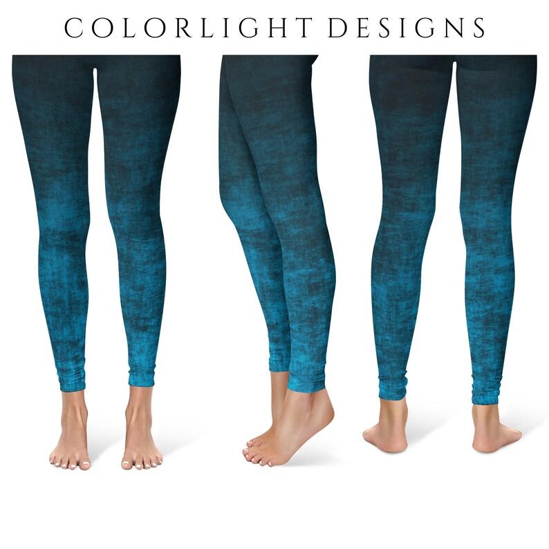 Blue Ombre Leggings Yoga Pants Grunge Yoga Tights for Women image 0