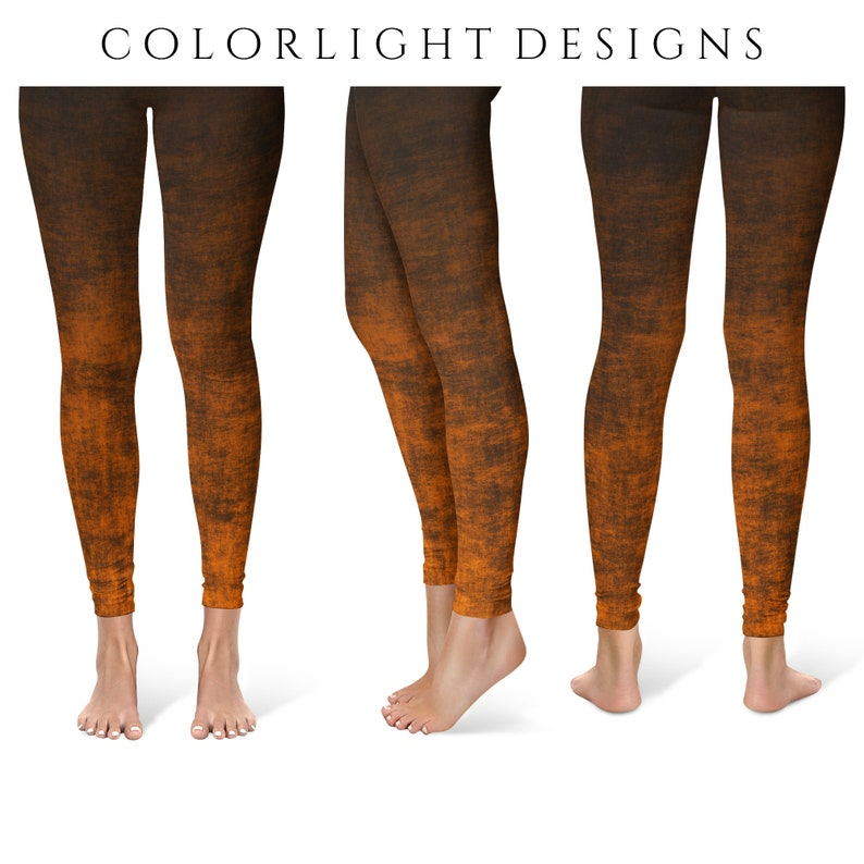 Orange Ombre Leggings Yoga Pants Grunge Yoga Tights for Women image 0