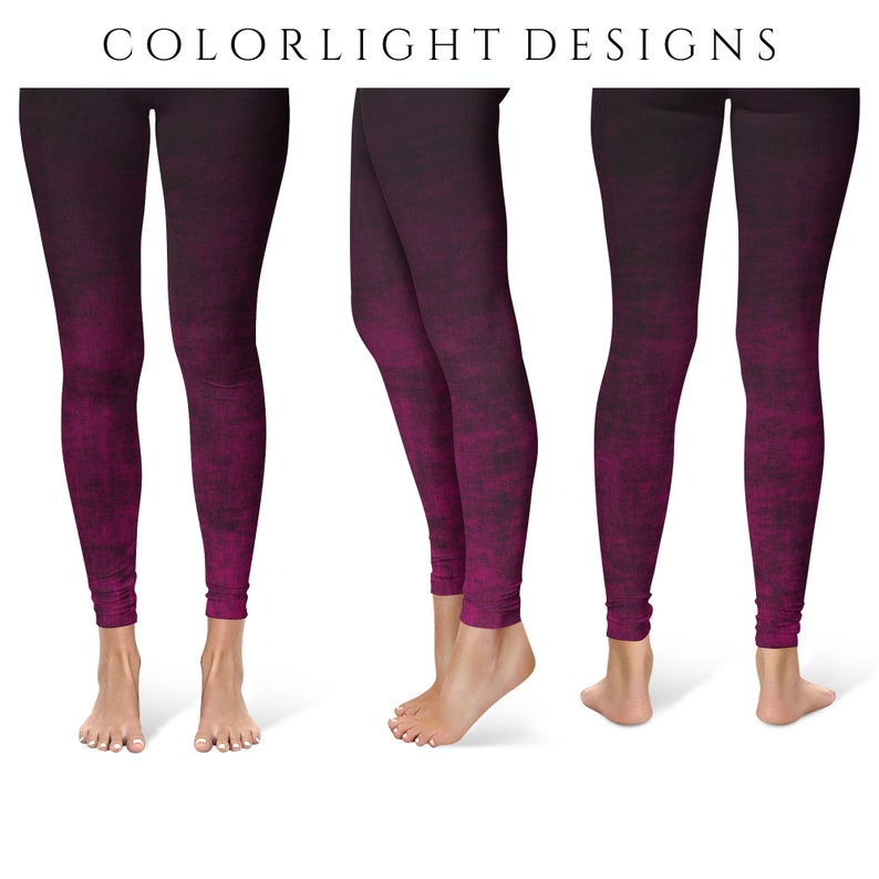 Hot Pink Ombre Leggings Yoga Pants Grunge Yoga Tights for image 0