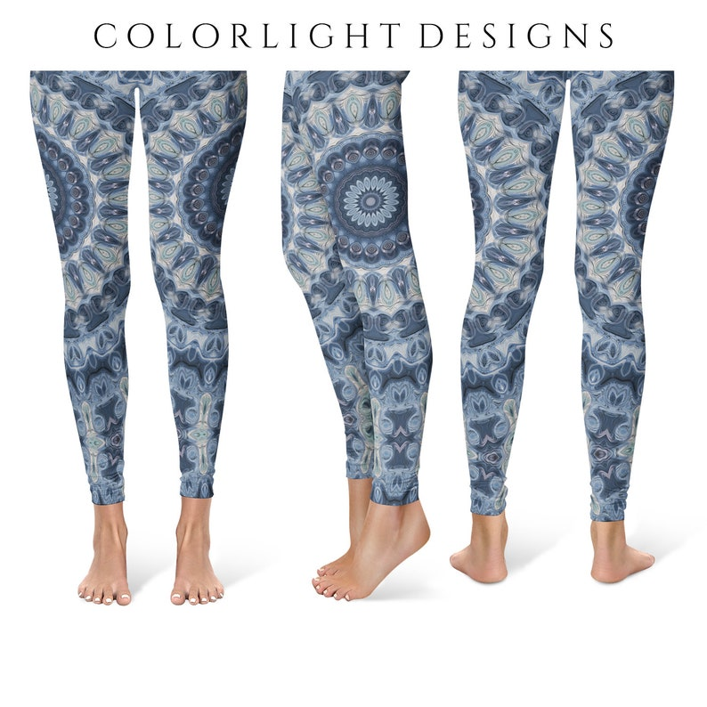 Fashion Leggings Yoga Pants Blue Mandala Printed Yoga Tights image 0